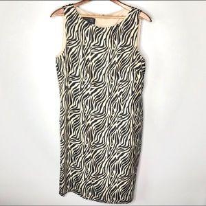 Spencer Jeremy 100% Silk zebra print dress SZ 14